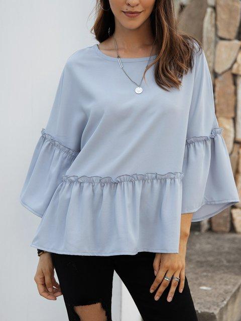 Blue Cotton-Blend Casual Plain Crew Neck Shirts & Tops