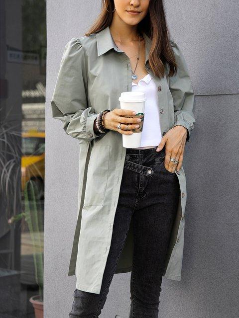 Green Paneled Long Sleeve Shawl Collar Boho Trench Coats