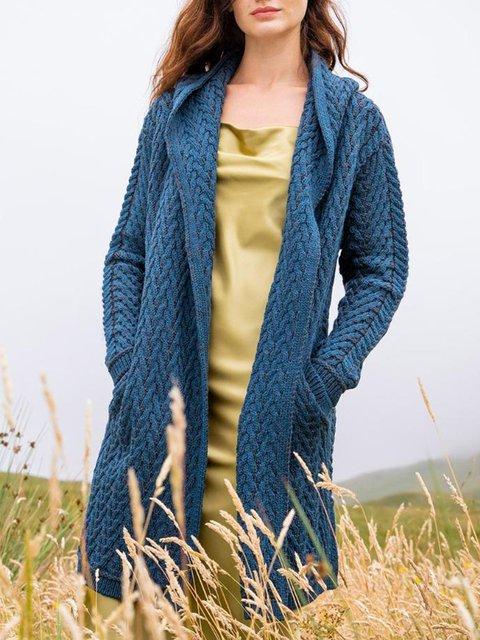 Royal Blue Cotton-Blend Jacquard Vintage Shift Outerwear
