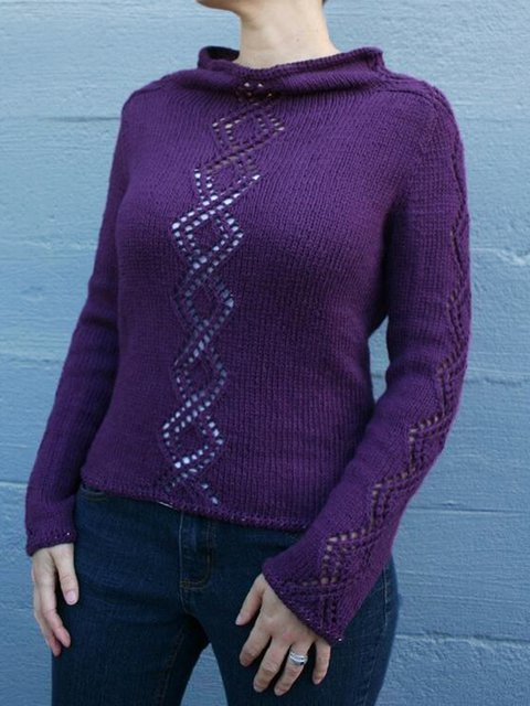 Purple Cotton-Blend Casual Plain Cowl Neck Sweater