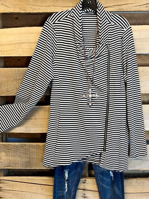 Black Long Sleeve Stripes Cotton-Blend Outerwear