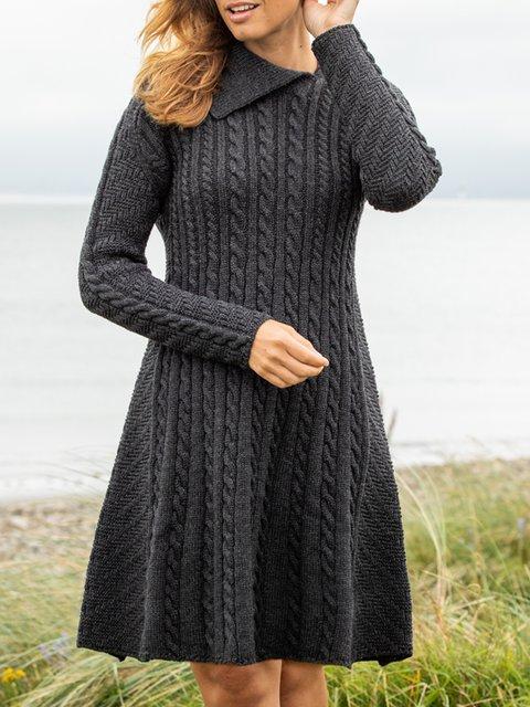 Black Cotton-Blend Long Sleeve Shawl Collar Jacquard Dresses