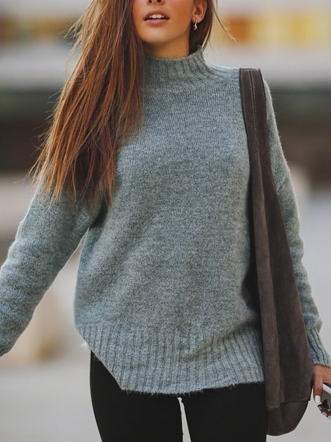 Gray Cotton-Blend Long Sleeve Shift Sweater