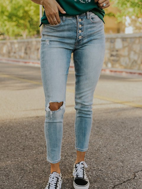 Blue Sheath Denim Casual Pants