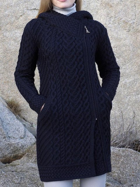 Black Long Sleeve Jacquard Outerwear
