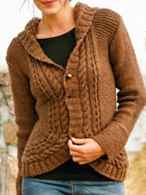 Coffee Cotton-Blend Long Sleeve Shift Sweater