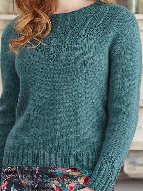 Green Crew Neck Long Sleeve Cotton-Blend Shift Sweater