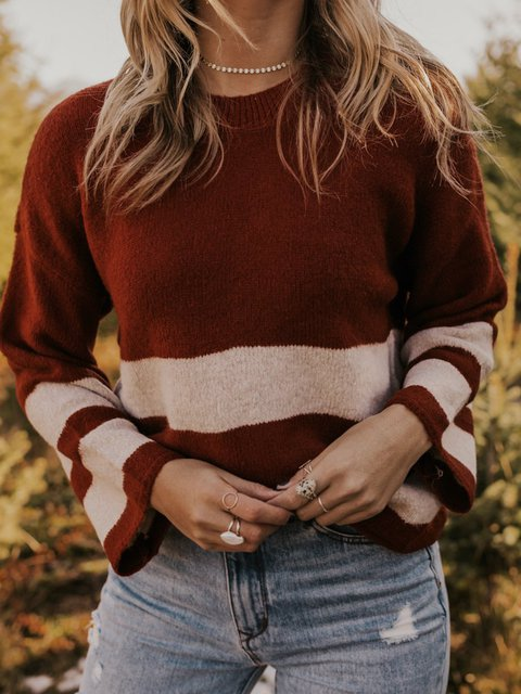 Wine Red Cotton-Blend Shift Casual Stripes Sweater