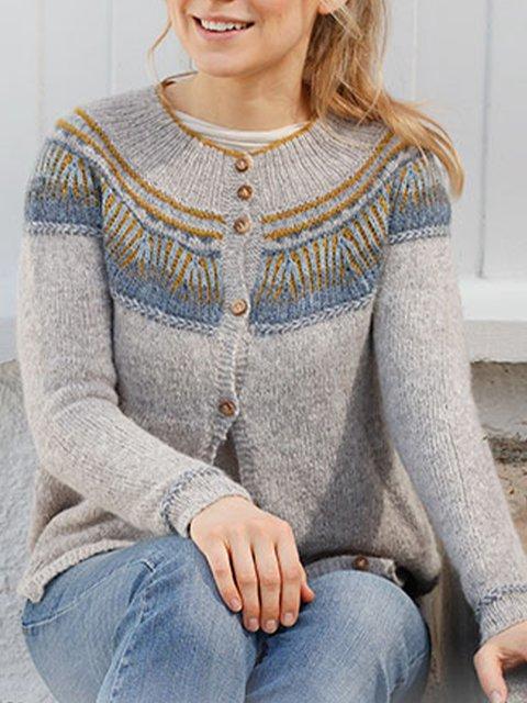 Gray Tribal Shift Long Sleeve Sweater