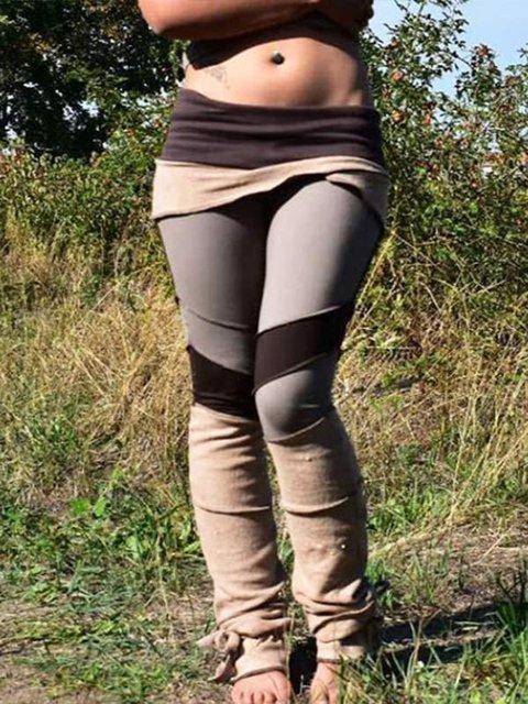 Women's Retro Multicolor Paneled Stretch Casual Pants