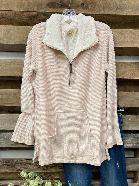 Pink Cotton-Blend Long Sleeve Sweatshirt