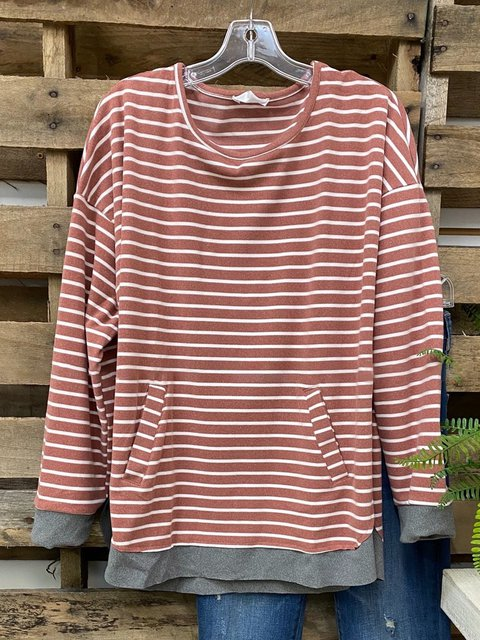 Multicolor Cotton-Blend Long Sleeve Casual Crew Neck Shirts & Tops