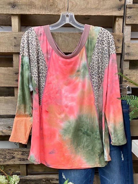 Multicolor Casual Ombre/tie-Dye Cotton-Blend Shirts & Tops