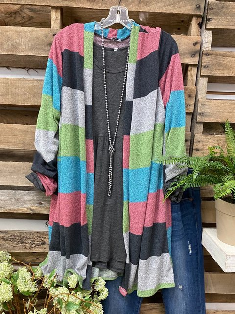 Multicolor Casual Striped Outerwear