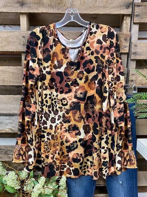 Leopard Leopard Printed Casual Cotton-Blend Shirts & Tops