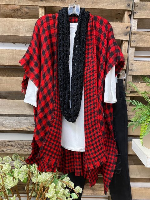 Red Casual Cotton-Blend Outerwear