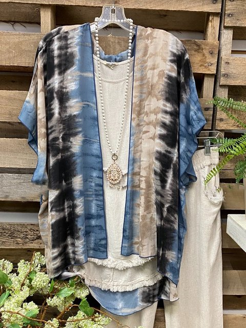 Multicolor Cotton-Blend Casual Printed Outerwear