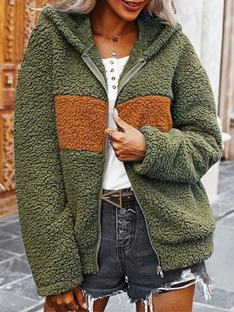 Green Casual Acrylic Outerwear