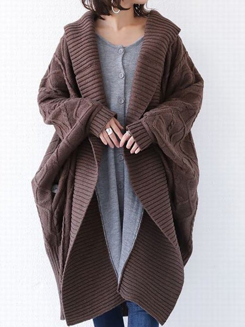 Brown Solid Color Casual Knit Sweater Cardigan Outerwear