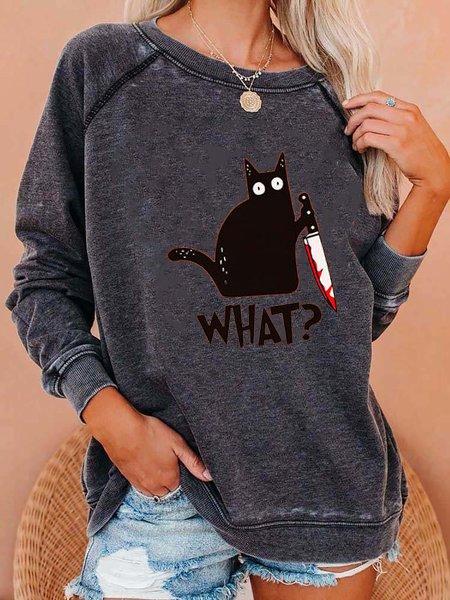 Gray Long Sleeve Animal Shirts & Tops