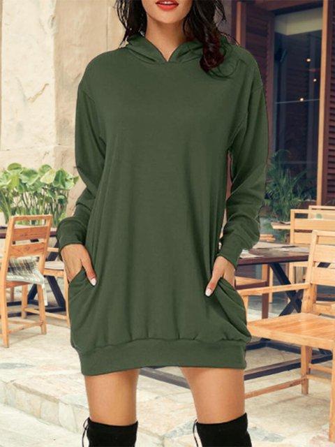 Solid Color Medium Long Hooded Casual Hoodie