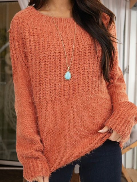 Orange Shift Knitted Casual Sweater