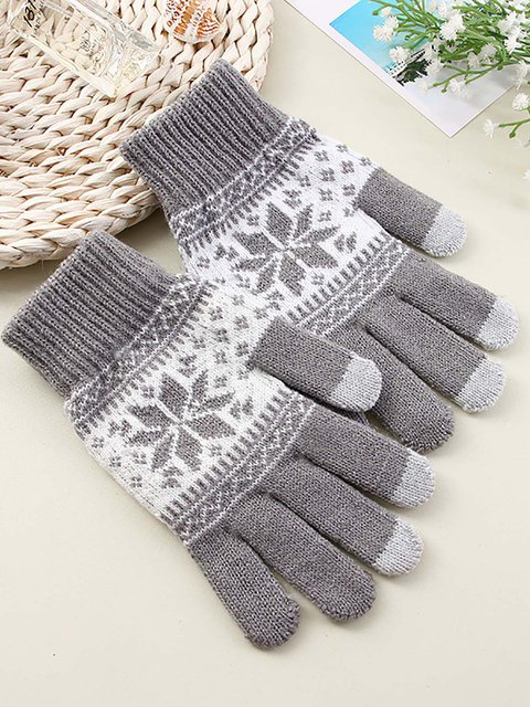 Printed Mobile Phone Touch Screen Knitted Gloves