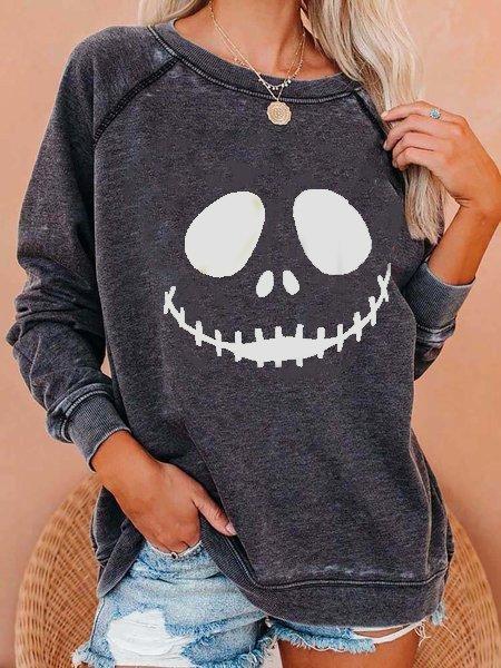 Gray Cotton-Blend Shift Long Sleeve Shirts & Tops