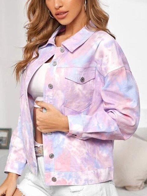Short Tie-dye Street Style Denim Jacket