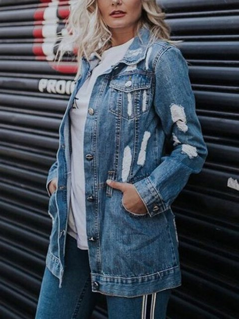 Loose Autumn And Winter Denim Jacket With Ripped Frayed Pockets