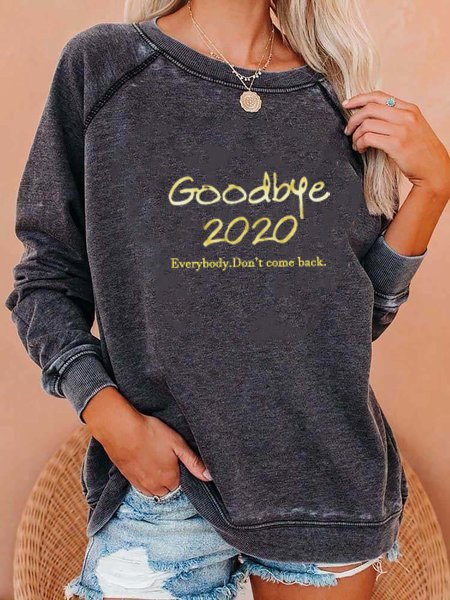 Gray Letter Cotton-Blend Long Sleeve Shirts & Tops