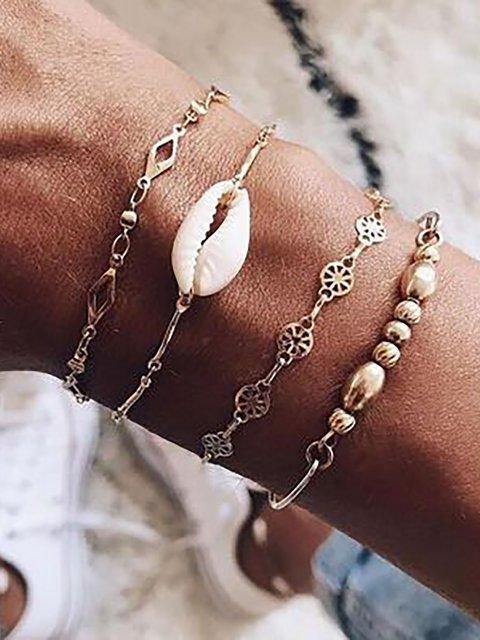 4-piece Geometric Round Gold Beads Hollow Bracelet Set