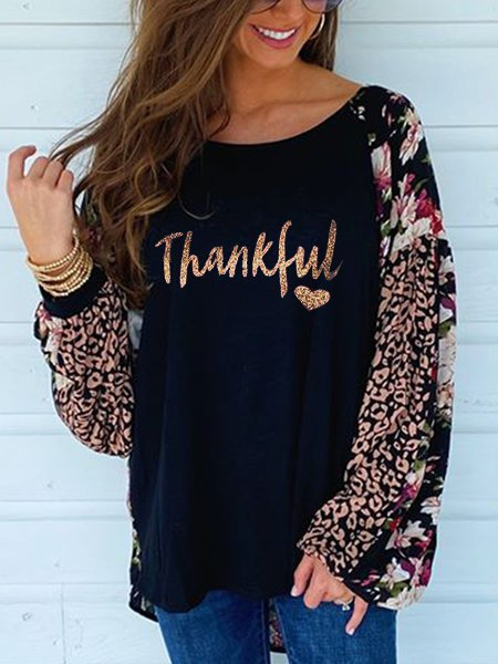 Black Letter Casual Shirts & Tops