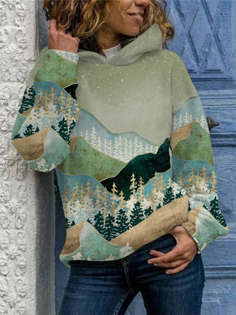 Green Casual Plants Long Sleeve Sweatshirt