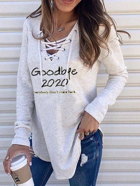 Light Gray V Neck Letter Casual Shirts & Tops