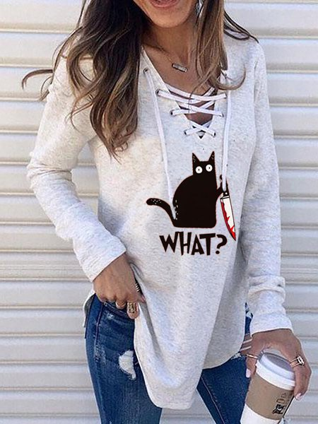 Gray Cotton-Blend Casual Long Sleeve Shirts & Tops