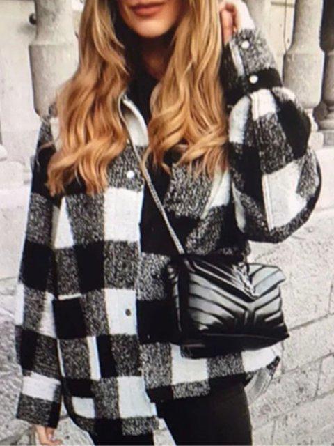 Loose Plaid Women's New Coat