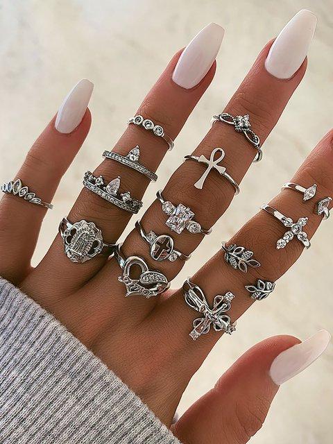 Diamond Crown Love Ring Leaf Cross Knuckle 14 Piece Set