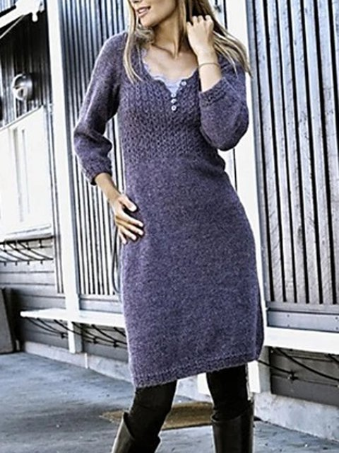 Purple Solid Color 3/4 Sleeve Casual Knee Length Sweater Dresses