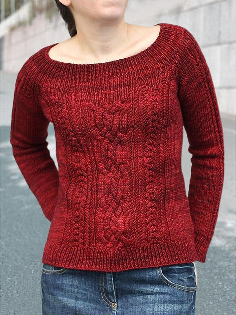 Deep Red Cotton-Blend Casual Long Sleeve Sweater