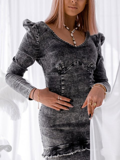 Denim Dress With V-neck Slim Ruffle Skirt