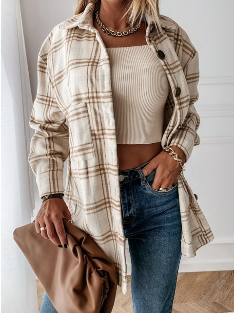 Loose-Fitting Retro Plaid Blouse With Long Sleeves