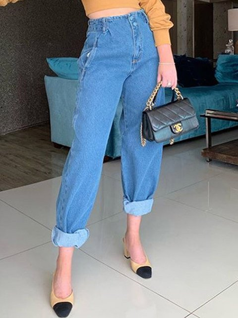 Casual Straight Loose Simple All-match Denim Trousers
