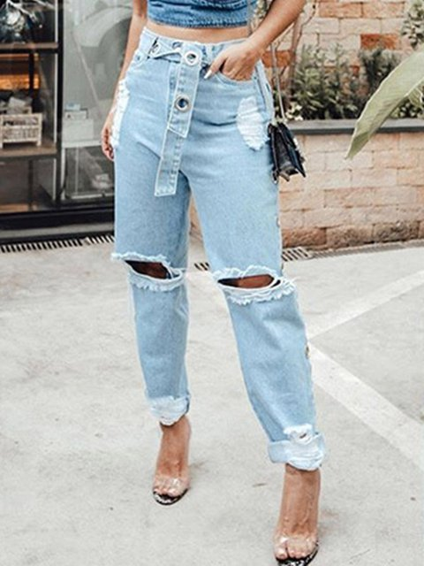 Personalized Street Style Ripped Hole Punched Belt Loose Jeans