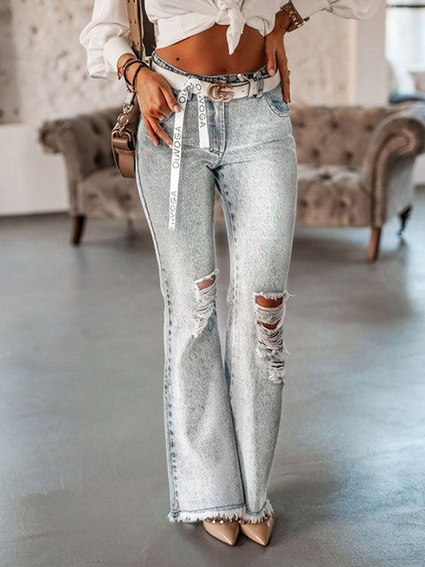 Vintage Gray Ripped Flared Jeans