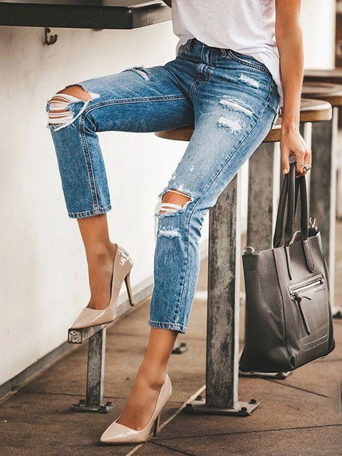 Light Blue Casual Ripped Slim Cropped Jeans