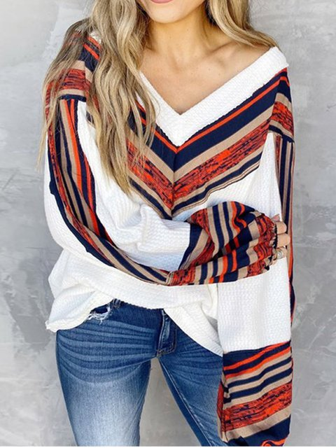 Loose V-Neck Hoodie With Long Sleeves For Autumn