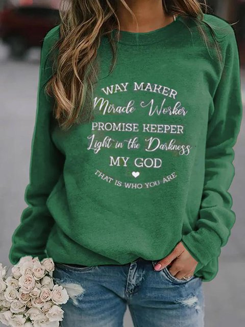 Green Printed Letter Crew Neck Casual Shirts & Tops