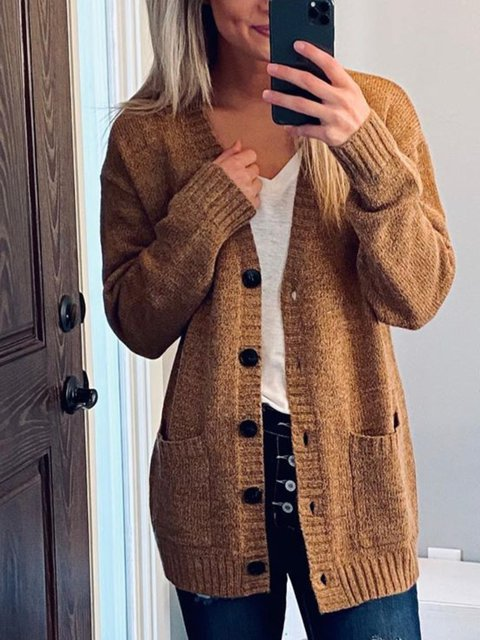 Brown Cotton Casual Sweater
