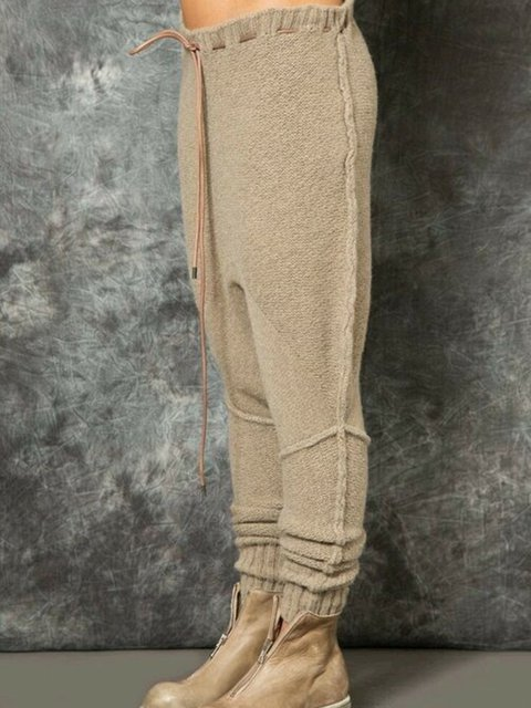 Warm Solid Casual Shift Pants